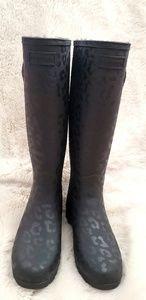 NWOT Hunter Boots! Black lepord print!